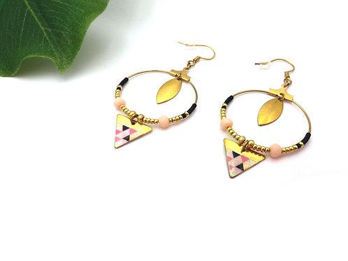 Boucles d'oreilles créoles et triangle en laiton