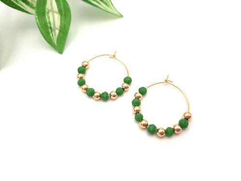 Mini Créoles vert menthe et perles dorées à l'or fin