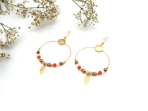 Boucles créoles cuivre et perles dorées à l'or fin