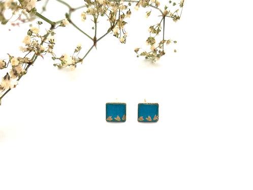 Clous d'oreilles carrés turquoise