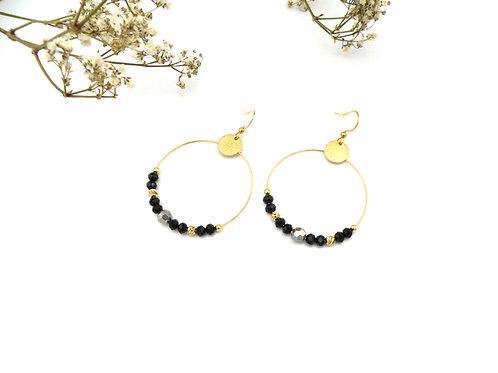 Boucles créoles noir de jais et perles dorées à l'or fin