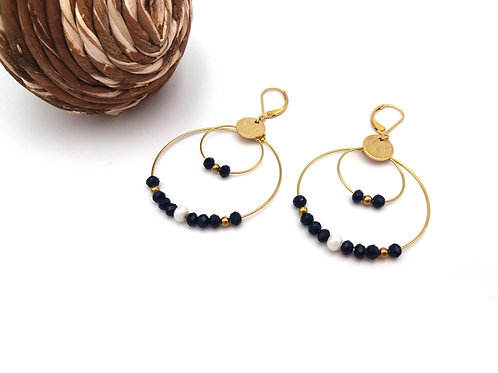 Boucles d'oreilles double créoles ornées de perles à facettes