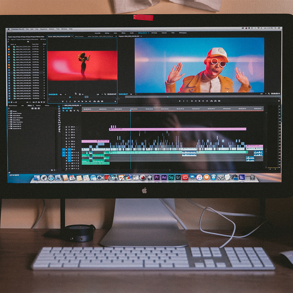 Editing screen for music video