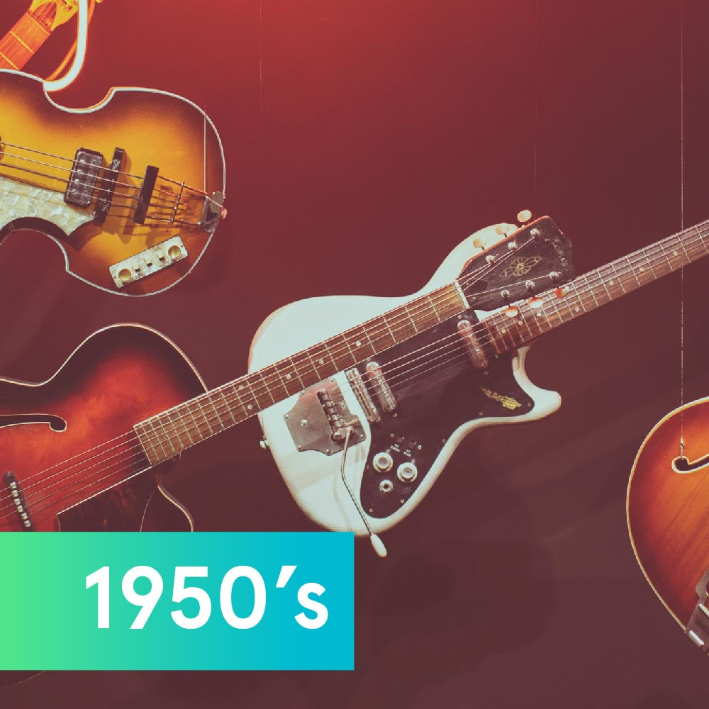 Guitars representing music in the '50s