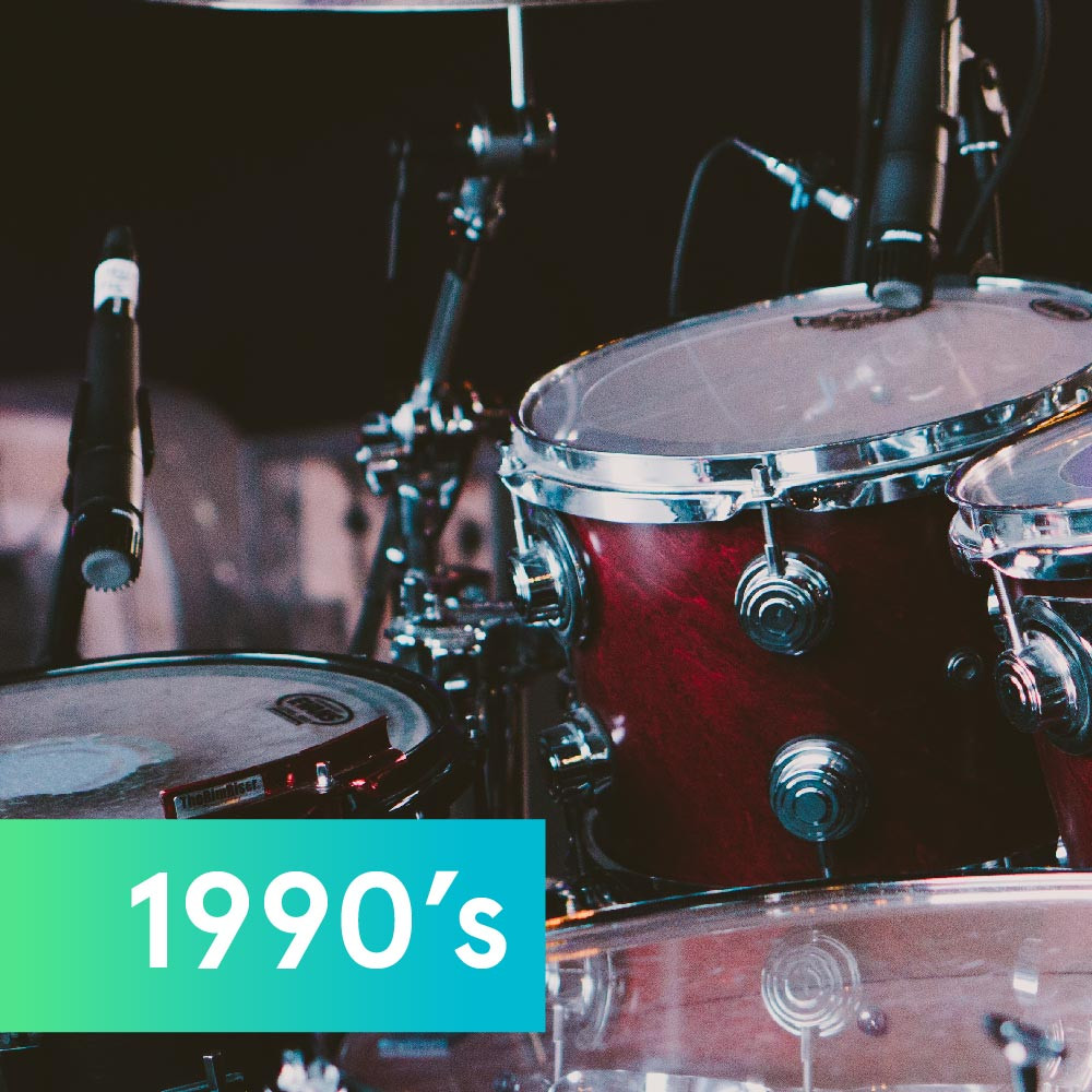 Drum set representing music in the '90s
