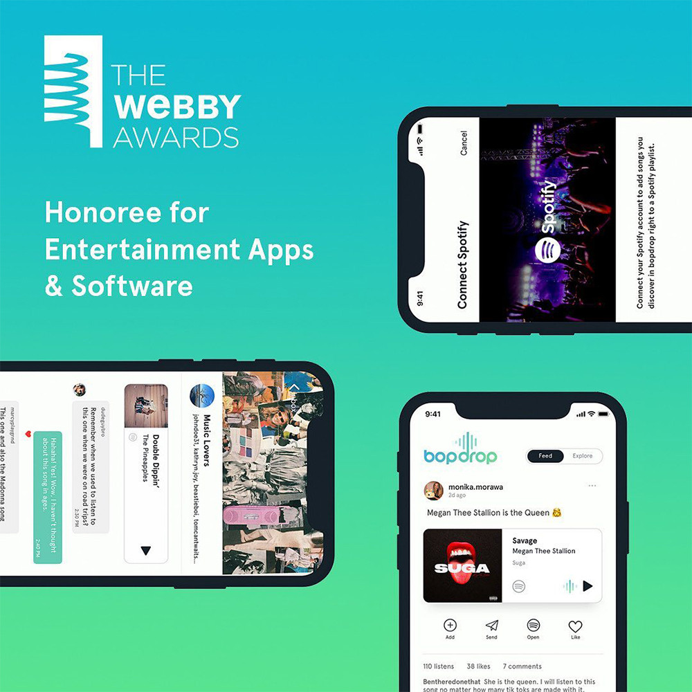 bopdrop honoree for the 25th annual Webby Awards for entertainment apps & software