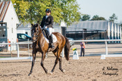 Janice and Ruby riding trot flexion left