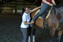 Leg correction on a rider