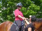 Janice and rider having fun