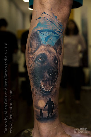 Dog Portrait Tattoo by Allan Gois at Aliens Tattoo India