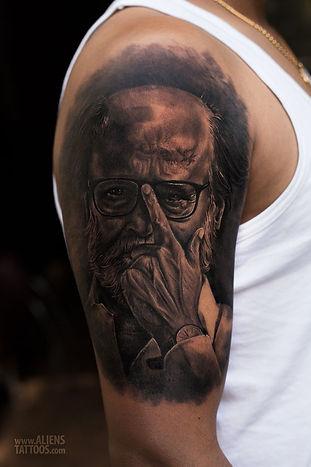 Rajinikanth Portrait Tattoo