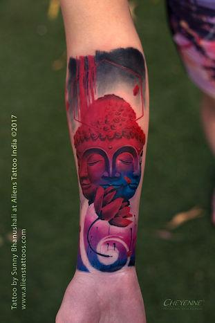 Abstract Colourful Buddha Tattoo