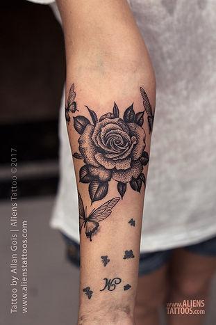 Beautiful Dotwork Rose Tattoo