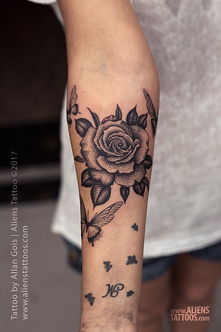 Beautiful Dotwork Rose Tattoo