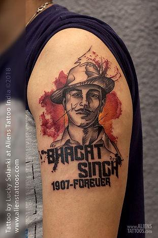 Bhagat Singh Portrait Tattoo