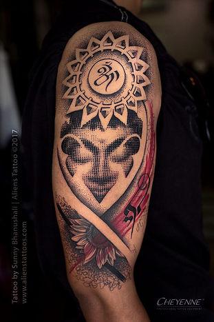 Halftone Dotwork Buddha Tattoo