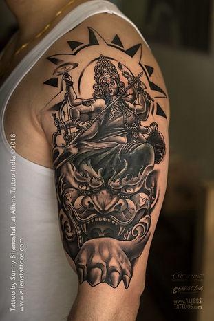 Goddess Durga and Tiger Tattoo