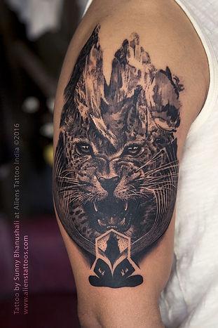 Double Exposure Leopard Tattoo