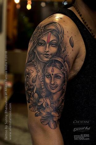 Radha - Krishna Portrait Tattoo