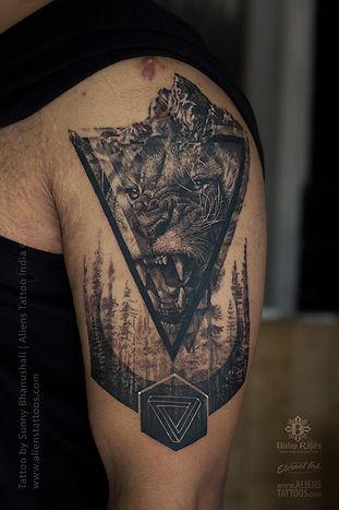 Realistic Lion Geometric Tattoo