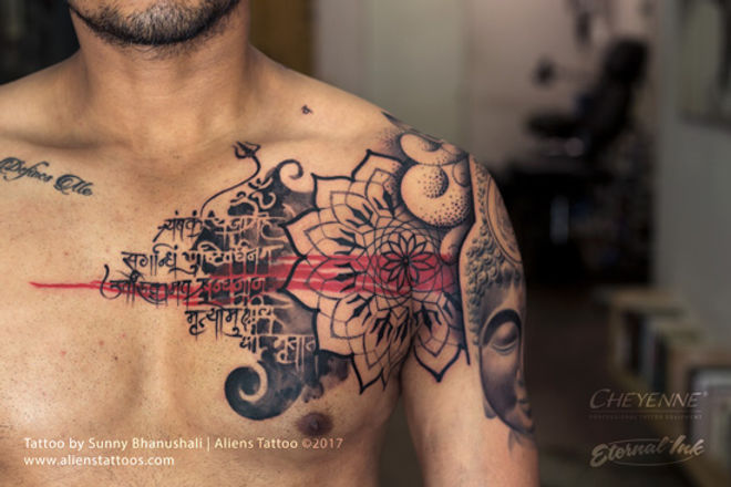 Mandala Mantra Chest Tattoo