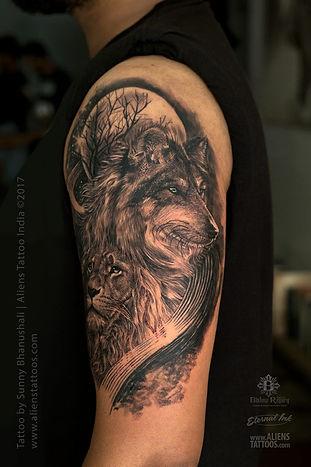 Realistic Lion Wolf Tattoo