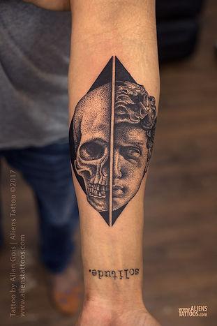 David and Goliath (Skull) Tattoo