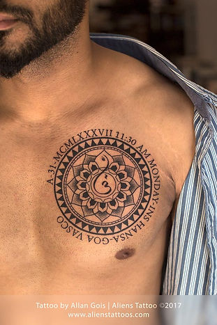 Beautiful Mandala Chest Tattoo