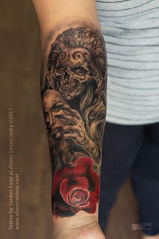 Demonic Skull With Mask Tattoo