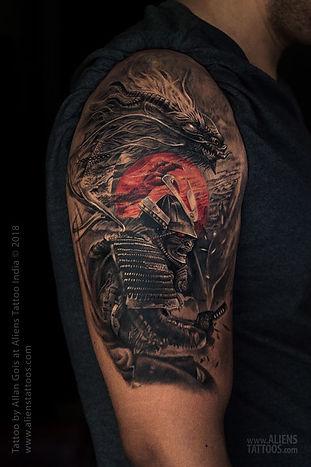 Dragon and Samurai Warrior Tattoo