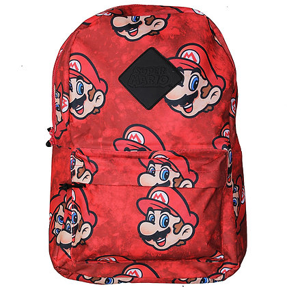 Nintendo Super Mario All Over Print Faces Backpack Official Red