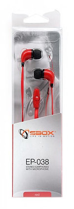 Earphones + Microphone SBOX EP-038 Red