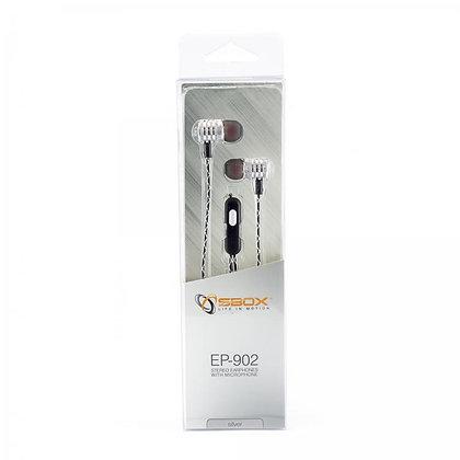 EARPHONES + MICROPHONE SBOX EP-902 Silver