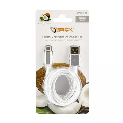 CABLE SBOX USB->TYPE C M/M 1,5M Fruity White