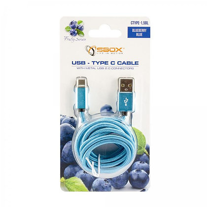 CABLE SBOX USB->TYPE C M/M 1,5M Fruity Blue