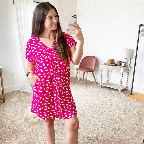 Fuchsia Dot Dress