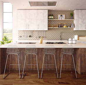 Canva - Four Gray Bar Stools in Front of