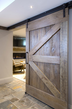 Barn Door and Fireplace