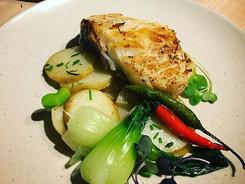 Wild Seabass, Summer savory potatoes, steamed bok choy, Thai chillies