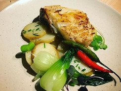 Wild Seabass, Summer savory potatoes, steamed bok choy, Thai chillies