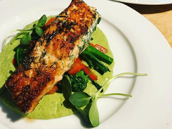 Hickory Smoked Butter Crusted Sous-Vide Salmon, dill sweet purée, chilli rapini