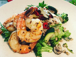 Grilled Tiger Shrimp, Farro, Thai Chili Vegi Medley