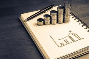 crescimento financeiro, gráfico, moedas, caneta, finanças