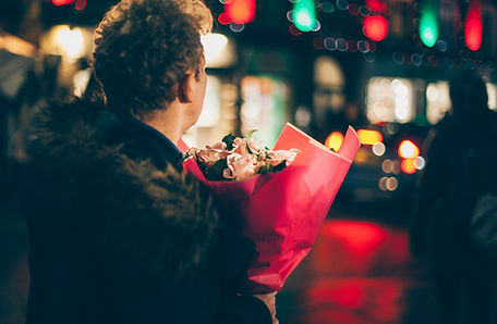 Romantic Man with Bouquet