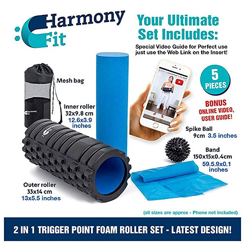 Harmony Fit 2-in-1 Trigger Point Foam Roller Set