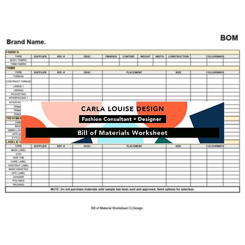 Bill of Material Worksheet Template