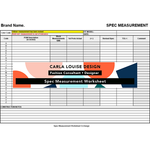 Spec Measurement Sheet Template