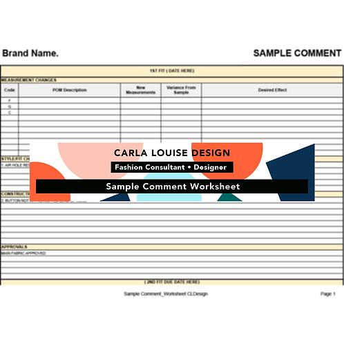 Sample Comment Worksheet Template
