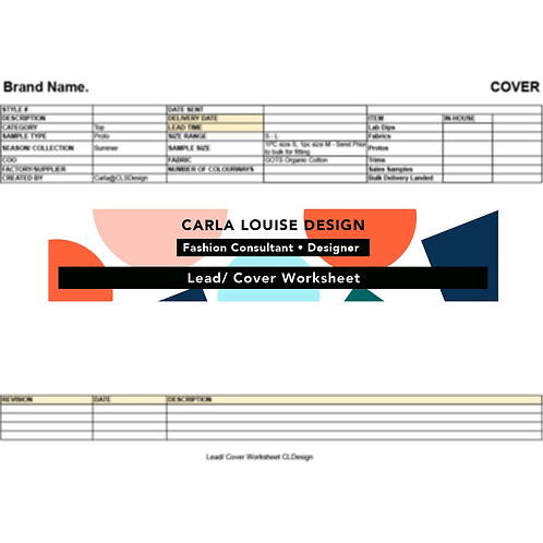 Lead/ Cover Worksheet Template
