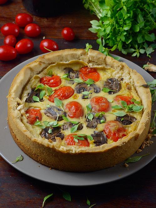NATAL - Quiche de tofu com cogumelos e tomate
